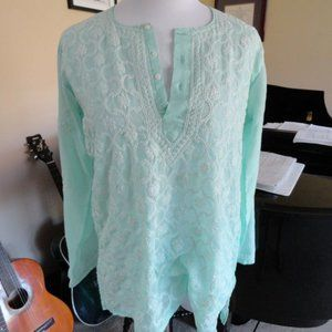 3/$20 green embroidered Indian blouse